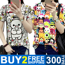 BUY 2 FREE SHIPPING ! Girls T-shirts Dress Cartoon Short Sleeve  Casual Loose Blouse/Plus Size