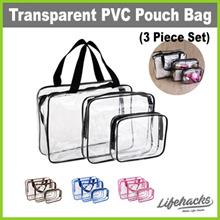 ★ Transparent PVC Pouch Bag (Three-Piece Set) ★ See-Through Multipurpose Cosmetics Organizer Cases