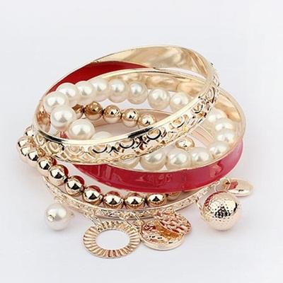 【ZAKZAK・国内発送】新品送料無料韓国可愛くて真珠透かし彫りカラー多層ブレスレットSTAR同型タッセルブレスレットの画像