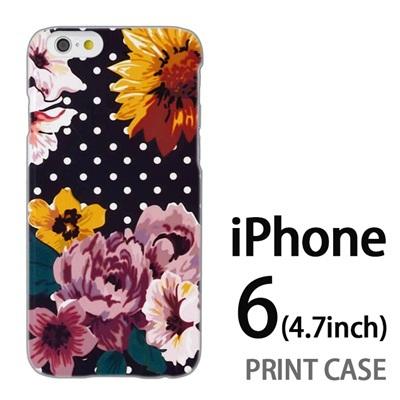 iPhone6 (4.7インチ) 用『1000 花×ドット 灰』特殊印刷ケース【 iphone6 iphone アイフォン アイフォン6 au docomo softbank Apple ケース プリント カバー スマホケース スマホカバー 】の画像