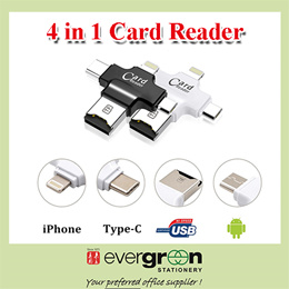 4-in-1 Micro SD TF Card Reader with Lightning/USB/Micro-USB/Type-C Connector for iPhone iPad Android