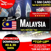 Malaysia sim card (Network by Digi) 3 -10 days unlimited data 4G