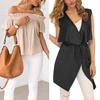 New Womens Ladies Mini Dress Jacket Vest Coat Off Shoulder V Neck Top Beach Jumpsuit Loose Blouse