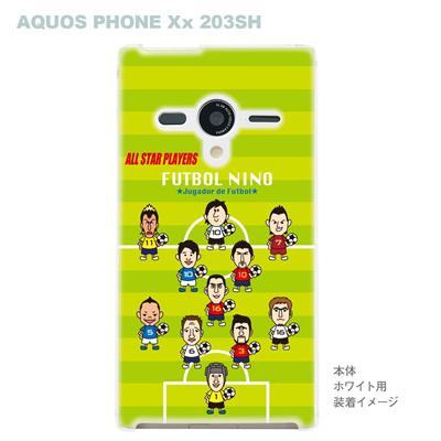 【AQUOS PHONEケース】【203SH】【Soft Bank】【カバー】【スマホケース】【クリアケース】【サッカー】【オールスター】 10-203sh-f-all02の画像