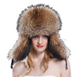 (URSFUR)/Accessories/Hats/DIRECT FROM USA/Women s Raccoon Fur  Leather Russian Trapper Hats