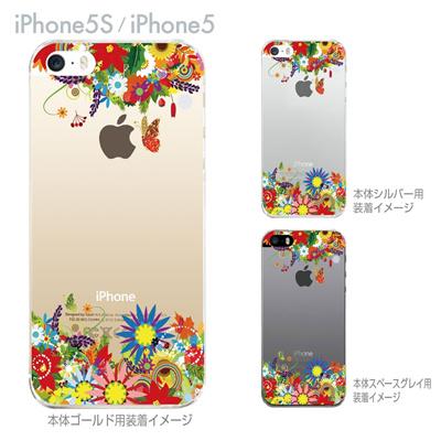 【iPhone5S】【iPhone5】【iPhone5sケース】【iPhone5ケース】【クリア カバー】【スマホケース】【クリアケース】【ハードケース】【着せ替え】【イラスト】【フラワー】【花と蝶】 06-ip5s-ca0084の画像