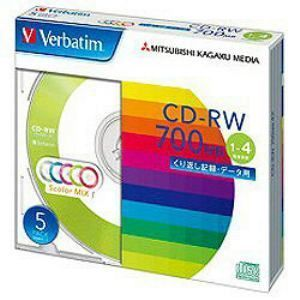三菱化学メディア1〜4倍速対応データ用CD-RWメディア(700MB・5枚)SW80QM5V1