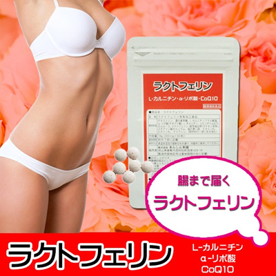 週末セール 腸まで届く♪ラクトフェリン(60粒入り)■メタボ対策・ダイエットに! L-カルニチン・α‐リポ酸・CoQ10の画像
