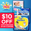 [Unicharm] 【$10 OFF】MAMYPOKO/MOONY/MOONYMAN Baby Diapers: Quality leak-proof fresh-smelling and gentle on the skin/Easy to put on making it convenient and comfortable.