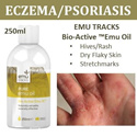 (Emu Tracks) Bio-Active Emu Oil [250ml] ECZEMA/PSORIASIS/HIVES/DRY ITCHY SKIN NON-STEROIDAL RELIEF. Fast Delivery!