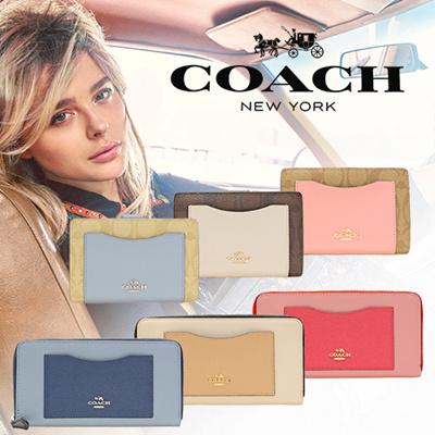 春色財布が限定セール❤ COACH コーチ  二つ折り財布 ラウンドファスナー長財布 f57824 f57605 f57318