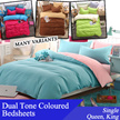 RESTOCK Dual Tone Coloured Bedsheets / Flat Sheets / Single Queen King / With Quilt Covers / 700 TC