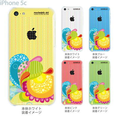 【iPhone5c】【iPhone5cケース】【iPhone5cカバー】【ケース】【カバー】【スマホケース】【クリアケース】【クリアーアーツ】【psychedelic girl】 21-ip5c-ps0002の画像