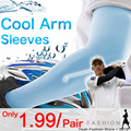 Bulk wholesale price Cooling Sport Skins Arm Sleeves Sun Protective UV Cover Ice Cool Arm Sleeves hand cover/half glove/towel/UV Protection/Cycling /Tennis /Hiking/Golf/Driving (39cm)