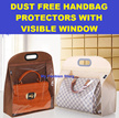 *Dust-Free Handbag Protectors With Visible Window / Hanger / Holders / Bag Organizer/ 4 or 5 or 6 Hooks / Best Storage Space Saver / Hanging / Fashion Organiser / Neat / Compartment / Tidy Wardrobe*