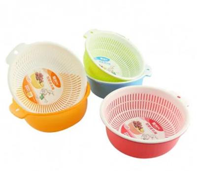 Qoo10 Double Wash Basin Drain Basket Fruit Basket With