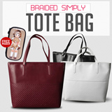 [GRATIS POUCH] Braided Simply Tote Shoulder Bag/Good Quality/Ready Stok/3 Color Available Free Cosmetic Pouch