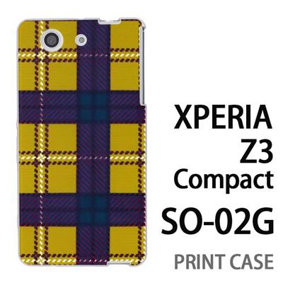 XPERIA Z3 Compact SO-02G 用『0908 ラインチェック 黄茶』特殊印刷ケース【 xperia z3 compact so-02g so02g SO02G xperiaz3 エクスペリア エクスペリアz3 コンパクト docomo ケース プリント カバー スマホケース スマホカバー】の画像