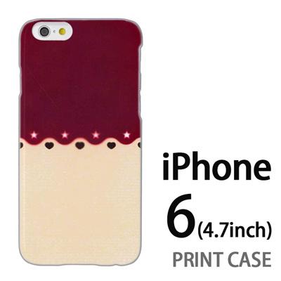 iPhone6 (4.7インチ) 用『1002 星とハート 茶×ベージュ』特殊印刷ケース【 iphone6 iphone アイフォン アイフォン6 au docomo softbank Apple ケース プリント カバー スマホケース スマホカバー 】の画像