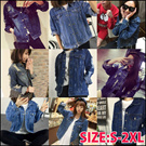 SJ232  Korean style! Retro relaxed denim jacket / Bat Sleeve denim jacket