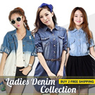 XX05★Denim collection! Trendy stylish denim dress tops blouse skirts shorts jackets and more!