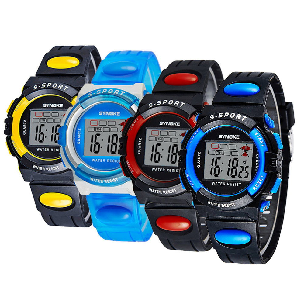 Qoo10SYNOKE多機能デジタル防水LED腕時計高品質な子供学生ウォッチ軟PU腕時計バンド