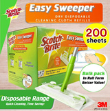[Official E-Store] Scotch-Brite® Easy Sweeper Dry Wiper Bulk Pack (200 sheets) - Floor Clean / Best Buy / Parquet / Laminate / Tile / Magiclean