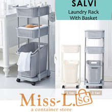 Fr. $9.90 - SALVI-LAUNDRY RACK WITH BASKET/ Laundry Basket / Organize for clothes/Large Capacity