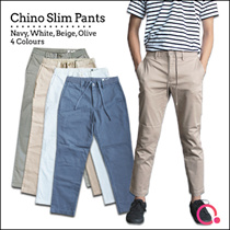 Men Chino Slim Pants (4 Colours)/Wrinkle Resistance/ Stretchable/95% Cotton 4% Spandex