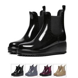 サイドゴアウェッジソールショートレインブーツ/レインシューズ/ゴム長靴/雨靴/ガーデニングブーツ/レディース/レインブーツ/スノーブーツ