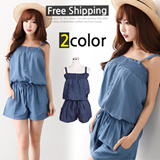 [Only One Day Limited time sale] 2015 NEW ARRIVAL~★FREE SHIPPING★Made in KOREA~! 2015 Best Selling Denim Jumpsuit in Korea♥lovely Mini Dress/ Dress/loose fit Dress//Mini Dress/Linen Dress/office dress
