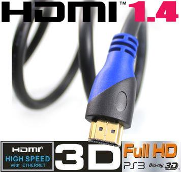 【送料無料】2014年新商品 HDMIケーブル 3D対応ハイスペックHDMIケーブル【1m】3D映像対応(1.4規格)/イーサネット対応/HDTV(1080P)対応/金メッキ仕様/PS3対応・各種AVリンク対応[High speed with Ethernet]【色不問】!!の画像