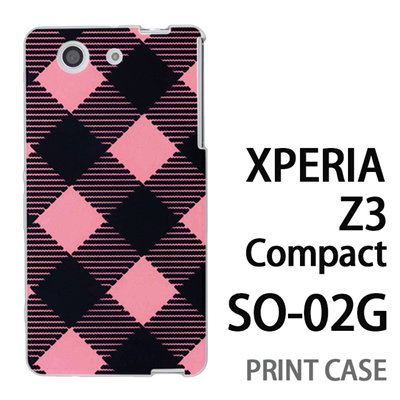 XPERIA Z3 Compact SO-02G 用『0908 斜めチェック 黒ピンク』特殊印刷ケース【 xperia z3 compact so-02g so02g SO02G xperiaz3 エクスペリア エクスペリアz3 コンパクト docomo ケース プリント カバー スマホケース スマホカバー】の画像