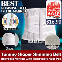[GSS SALE] Unisex Tummy Shaper Slimming Belt With Tourmaline Self Heating Pad / Body Shapewear / Fat Burning / Tightness Adjustable / Maternity Postpartum Recovery / Back Pain Solutions