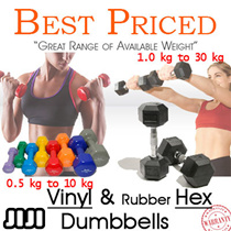 Vinyl Dumbbells | 0.5kg - 10kg | Vinyl Anti Slip Coat || Rubber Coated Hex Dumbbells | 1.0kg - 30kg | Contoured Chrome / JIJI