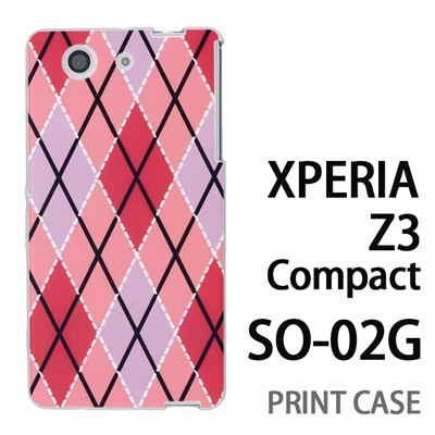 XPERIA Z3 Compact SO-02G 用『0908 菱形チェック ピンク』特殊印刷ケース【 xperia z3 compact so-02g so02g SO02G xperiaz3 エクスペリア エクスペリアz3 コンパクト docomo ケース プリント カバー スマホケース スマホカバー】の画像