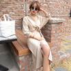 ♥送料 0円★PPGIRL_9616 Sella wrap dress / midi dress / suit dress / V neck dress / shirring