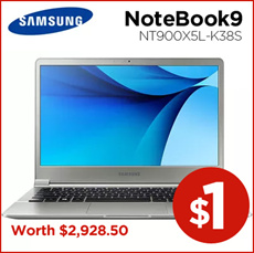 [$1 Lucky Event!] Samsung NoteBook9 NT900X5L-K38S Win 10 15 inch Core i3 6100U 8GB SSD128 [Free shipping]