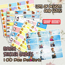 100pcs for 22x9mm Cartoon Personalised Water Proof Name Sticker / Frozen Cinderella Avenger