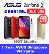 ZE551ML ASUS ZenFone 2 4G LTE Dual SIM/Android 5.0 Lollipop/13MP/5MP/32GB/2GB RAM and 4GB RAM available/3000mAh/Quad Core Z3560 1.8GHz or Quad Core Z3580 2.3GHz/1 Year ASUS Singapore Warranty