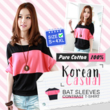 ♥ LuvClo~ Korean Casual Bat Sleeve Contrast T-Shirt (S-3XL)