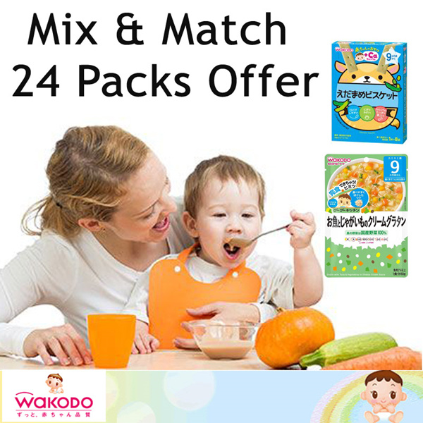 [WAKODO]*Wakodo Japan* Baby Food Mix and Match 24 Packs Deals for only S$91.2 instead of S$0