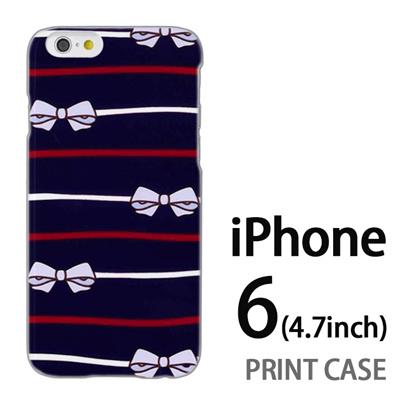 iPhone6 (4.7インチ) 用『1103 リボンストライプ 紺』特殊印刷ケース【 iphone6 iphone アイフォン アイフォン6 au docomo softbank Apple ケース プリント カバー スマホケース スマホカバー 】の画像