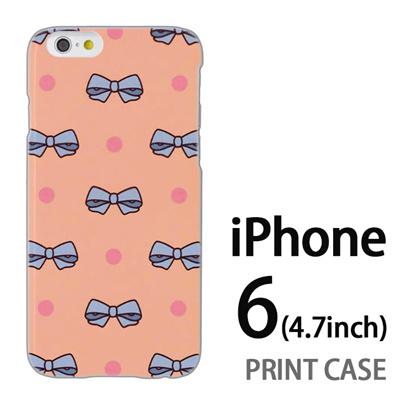 iPhone6 (4.7インチ) 用『1103 リボンドット ピンク』特殊印刷ケース【 iphone6 iphone アイフォン アイフォン6 au docomo softbank Apple ケース プリント カバー スマホケース スマホカバー 】の画像