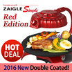 [★100% Genuine ZAIGLE!!★]2016 NEW! 2Coated! Zaigle Simple (New Red Edition) ZG-B373R Infrared Cooker Ray Well Being Roaster Indoor Electric Grill Pan Lamps Red Rotatable No Smoke Indoor BBQ Grill