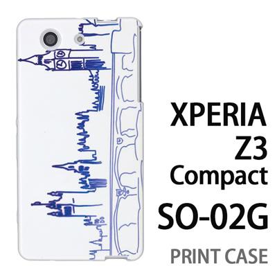 XPERIA Z3 Compact SO-02G 用『0910 街並み 青』特殊印刷ケース【 xperia z3 compact so-02g so02g SO02G xperiaz3 エクスペリア エクスペリアz3 コンパクト docomo ケース プリント カバー スマホケース スマホカバー】の画像