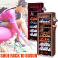 [Home klik] Rak sepatu 10 Susun + penutup Anti debu mudah dipasang anti bakteri / anti karat