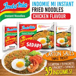 Indomie Mi Goreng Original Instant Fried Noodles- 1Carton=13Packs Chicken Flavor 85g*3pcs per pack