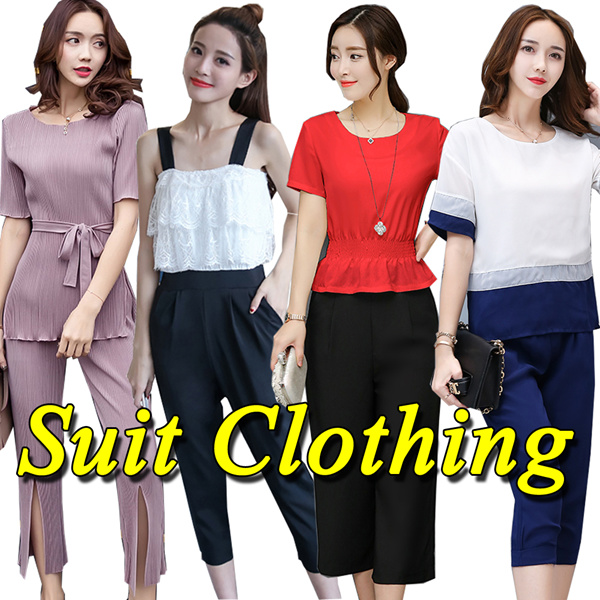 Plus size Suit dress/Two piece suit/Office/home suit//Tops/pants/Leisure sports suit Deals for only S$19 instead of S$0