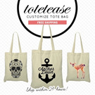 ★WHITE TOTES COLLECTION by TOTETEASE★ 100% Cotton/Customize/Tote Bag/Canvas Totebag/Shoulder Bag/Recycle Bag/